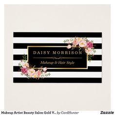 Vintage do ouro do salão de beleza do maquilhador cartão de visitas | Zazzle