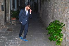 blue suit and electric blue moccasins by nico nerini