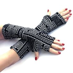 SALE Black and White Tribal  Fingerless Gloves -Super Soft  Arm Warmers , Gloves , Hand Warmers , Cuffs , abstract pattern