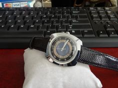 Vtg 1974 Timex Automatic Water Resistant Mens Watch w/ 18mm Lizard Leather Band! #Timex #Luxury