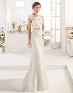 Aire Barcelona 'Creta' gown, a stunning all over lace design now in store at Peter Trends Bridal.
