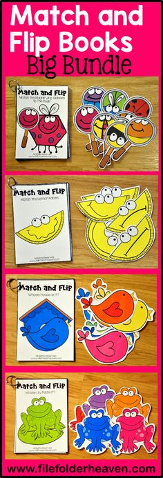 Over 100 sets of Match and Flip Book Goodness! Match and Flip Books focus on basic matching skills, such as matching by color, shape, and counting. Match and Flip Books have big pieces for little hands.