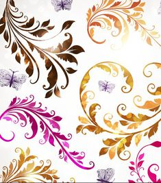 Delicate Floral pattern background element vector set 03 - FreeDesignFile.com