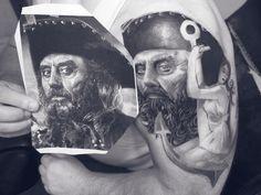 Pirate des Caraïbes TATTOO Pirate, Jack Sparrow, Portrait, Tattoos, Tattoo Studio, Headshot Photography, Men Portrait, Irezumi, Tattoo