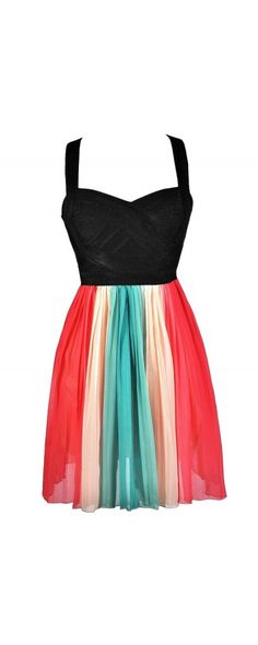 End Of The Rainbow Dress in Coral Pink/Green www.lilyboutique.com