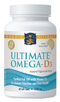 Nordic Naturals Ultimate Omega - D3 (1,000mg) per 2 pills ~ 60 Softgels $24.61 was 28.95 Saved 4.34 (14%) * Vit E 30mg DHA 450mg *EPA 650mg * Total Omega-3 1280mg ~ *Great Lemon Taste *Natural Triglyceride Form *Purified Fish Oil with Vitamin D³ for Immune Function and Bone Health *Pharmaceutical Grade ~ The Vitamin Shoppe