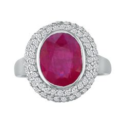 4ct Ruby and Diamond Ring in 14k White Gold