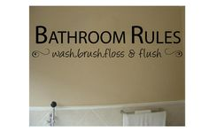 Wall quote -  Bathroom Rules - Vinyl Wall Art