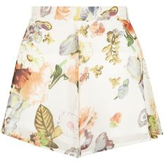 Cameo Rose Cream Leaf Print High Waisted Shorts (44 RON) ❤ liked on Polyvore