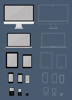 Flat Apple Products Mockups Psd