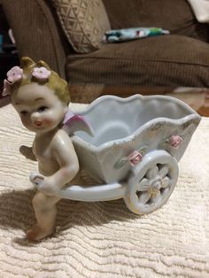 Cherub Pulling Planter 2 Wheel Cart Flowers A Napco Ceramic Japan S209b Vintage