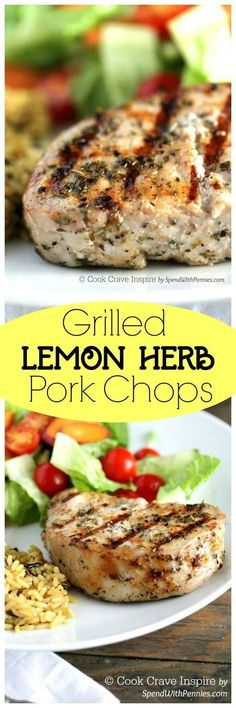 These are my favorite pork chops!  A simple marinade makes these Lemon Herb Grilled Pork Chops wonderfully tender with a citrusy flavor!  We love to serve these with salad and rice for a delicious light meal!