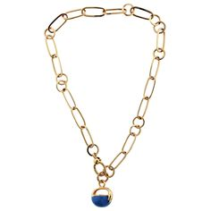 Pomellato Chalcedony Gold Fob Necklace | From a unique collection of vintage link necklaces at https://www.1stdibs.com/jewelry/necklaces/link-necklaces/