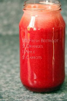 Instead of using beetroot, I like to add the whole thi… I love everything that beets are. Instead of using beetroot, I like to add the whole thing to my juice and instead only add 1 orange. Apple is a necessity in this juice. Juice Cleanse Recipes, Healthy Juice Recipes, Juicer Recipes, Healthy Juices, Healthy Smoothies, Healthy Drinks, Fruit Smoothies, Detox Recipes, Simple Smoothies