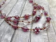 Homemade purple lamp work beaded rosary necklace multi strands by Liesbeth Visscher on JHFWBeadsAndFindings on #Etsy