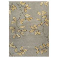Gold and grey leaves rug