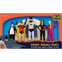 DC Comics - Batman 1966 Bendable Figure Set: The Penguin, Robin, Batman, Catwoman, The Joker, Multicolor