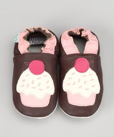 Brown & Pink Cupcake Leather Booties