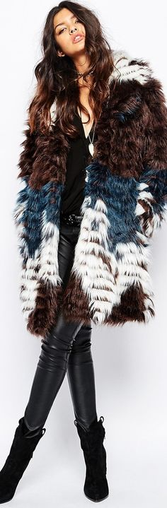 Faux London Fluffy Faux Fur Thigh Length Coat In Feather