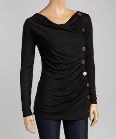 Look what I found on #zulily! Black Button Drape Top. http://www.zulily.com/invite/ticklish1025375