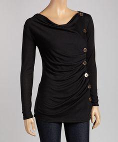 Black Button Drape Top #zulily #zulilyfinds