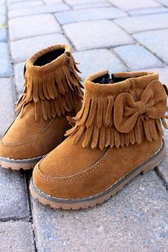 Suede Fringe Boots for Toddlers: Caramel