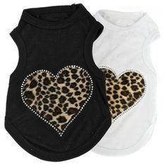 A comfy, soft and stylish T-shirt with a leopard print heart bedazzled in crystals for your furry fashionista.