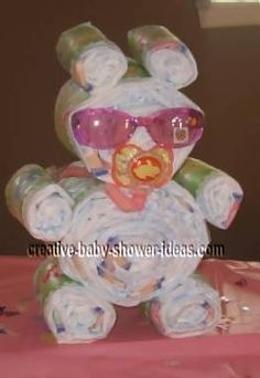 Cute animal made from diapers!  Great shower gift.