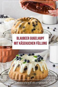 Was gibt es schöneres am Nachmittag als Kaffee und Kuchen? Da darf dieser Blaubeer Gugelhupf mit Käsekuchen Füllung aus dem Römertopf nicht fehlen. #rezepte #kochen #rezept #römertopf #roemertopf #tontopf #gugelhupf #gugel #kuchen #backen #blaubeeren #käsekuchen Cheesecake, No Bake Cake, Muffin, Yummy Food, Breakfast, Mini, Baking Cakes, Sweet, Desserts