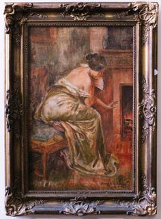 Oscar Pereira da Silva - Mulher - Oleo sobre tela - Assinado no CID - Medindo 25 x 55 cm