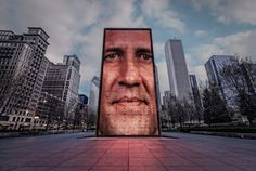 Crown Fountain is in the middle of Millennium Park, and it's hard to miss the tall video sculptures of faces spurting water out of their mouths!