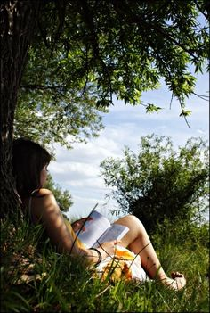 My quiet place photography girl outdoors nature trees book reading