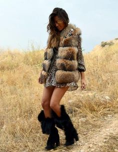 SWANK Exclusive Fur Vest with Embellished Jewel Collar in Brown *PRE-ORDER: THIS ITEM IS EXPECTED TO SHIP BY 11/15/2016.* We are DYING over this new line of furs from Spain! These amazing furs are exc