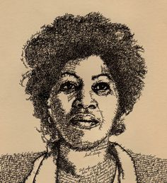 """Toni Morrison as Song of Solomon -- Artist and author John Sokol's """"Word Portraits,"""" drawings of literary greats in which the lines of their faces are crafted from the very words of their own works. Famous Artists For Kids, All About Me Crafts, Info People, Anaya, Toni Morrison, American Literature, Portraits, First Novel, Writers"""