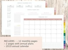 Digital Calendar Monthly 3 colors included For