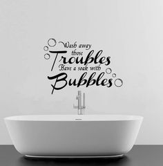 wash away your troubles bathroom quote vinyl wall art decal sticker 16 colours available gold