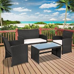4 Piece Patio Wicker Set Outdoor Garden Black Furniture Cushioned 2 Seater Sofa #4PiecePatioWickerSet