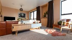 The Block NZ: Get a closer look at this week's living room reveals The Block Room Reveals, Electrician Work, The Block Nz, Pillow Texture, Tv Cabinets, Bold Colors, Hanging Chair, Entryway Tables, Lounge