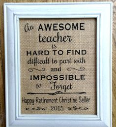 Teacher retirement gift burlap print custom by ChrissyDsCrafts
