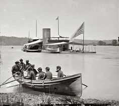 1864 | James River, Virginia | Double-turreted monitor U.S.S. Onondaga, soldiers in rowboat