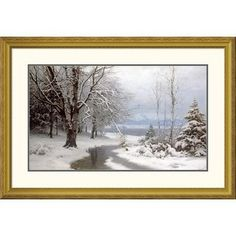"Global Gallery 'A Wooded Winter Landscape' by Anders Anderson-Lundby Framed Graphic Art Size: 27.58"" H x 40"" W x 1.5"" D"