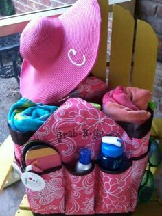Initials, Inc. Get a Grip Large used as a beach bag along with the Initials, Inc. Sunhat