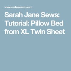 Sarah Jane Sews: Tutorial: Pillow Bed from XL Twin Sheet Pillow Lounger, Bed Pillows, Twin Xl Sheets, Chair Bed, Sewing Projects, Twins, Crafts, Stitching, Diy