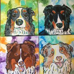 Set of four 12x12 paintings. All the colours of the Aussie rainbow 🌈 🐾❤️️ #gifts #greatgiftidea #thesoo #nothernontario #saultstemarie #saultstemarieontario #dog #dogs #dogstagram #dogsofinsta  #dogsofig #doglife #woofwoof #bark #aussienation #aussiesofinstagram #aussie #aussieshepherd #aussiepuppy #aussiedogs #redtriaussie #dogart #dogpainting #colourfulcanines #dogartist #dogportraits #dogoftheday #dogfun #bluemerle #redmerleaussie #bluemerleaussie #blacktriaussie