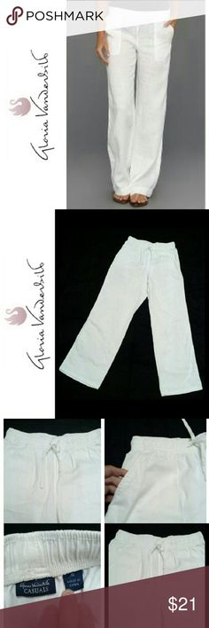 """GLORIA VANDERBILT WHITE """"SUZANNE"""" DRWSTRNG PANTS GLORIA VANDERBILT WHITE DRAWSTRING """"SUZANNE"""" PANTS Pre-Loved /EUC / Image for Similarity  *.  White Drawstring Waistband  *.  2 Front Slant Side Pockets *.  Style """"Suzanne"""" *.  97% Cotton / 3% Spandex ,,*.  Approx Meas; W 13 1/2"""" Inseam  29"""" Chico's Pants Ankle & Cropped"""