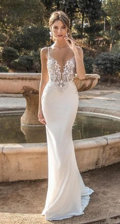 MUSE by Berta 2019 Barcelona Wedding Dresses berta fall 2019 muse bridal spaghetti strap deep sweetheart neckline heavily embellished bodice elegant fit and flare sheath wedding dress backless sweep train 7 mv MUSE by Berta 2019 Barcelona Wedding Dresses Fit And Flare Wedding Dress, Dream Wedding Dresses, Bridal Dresses, Wedding Gowns, Fitted Wedding Dresses, Wedding Dress Sheath, Dresses Dresses, Wedding Dress Backless, Fall Dresses