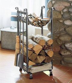 36 The Best Firewood Storage Design Ideas - It's hard to deny the comfort you get from a wood burning fire but storing a winter supply of firewood takes up a lot of space. A firewood storage rac. Indoor Firewood Rack, Firewood Holder, Firewood Basket, Outdoor Wood Burning Fireplace, Wood Holder For Fireplace, Storage Design, Storage Ideas, Outdoor Storage, Hearth