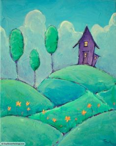 Tiny+Purple+House+with+Patchwork+Hills++by+tinyhousepaintings