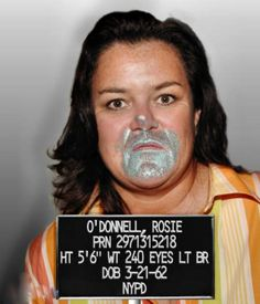 Rosie O'Donnell's mugshot.  Now a picture says a thousand words, but what could the story behind THIS picture be?