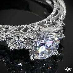 Verragio Beaded Twist 3 Stone Engagement Ring from the Verragio Venetian Collection. It features 0.45ctw (F/G VS) round brilliant cut diamond melee to enhance a round, oval or square diamond center of your choice.